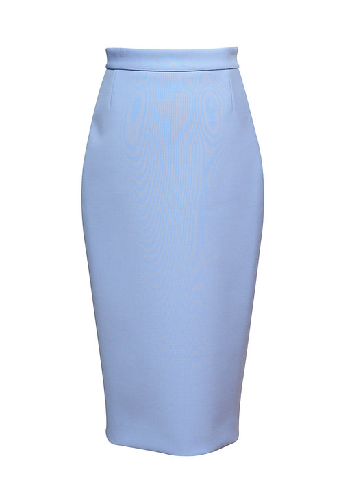 POWDER BLUE WOOL PENCIL SKIRT