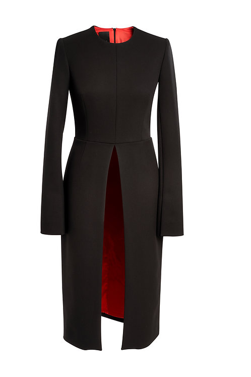 BLACK WOOL DRESS WITH OPEN FRONT