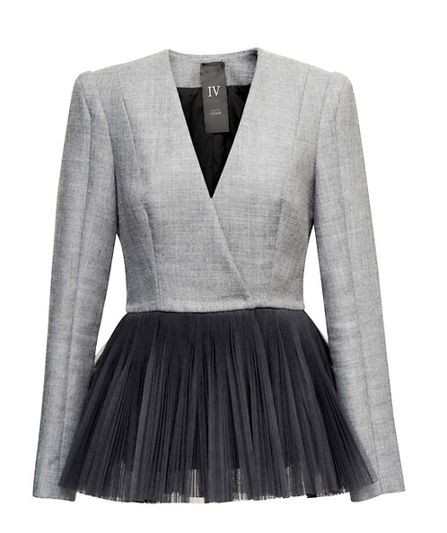 GRAY WOOL JACKET WITH TULLE PLEATS