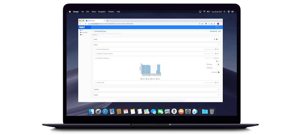 reed smart water managament cloud dashboard and cloudbox