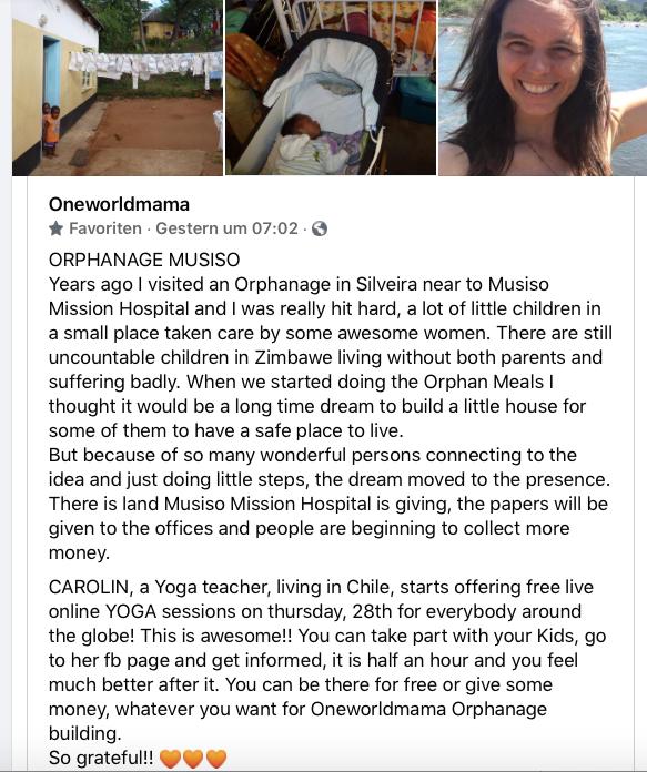 Oneworldmama Zimbabwe Daniela Sinsel Yog