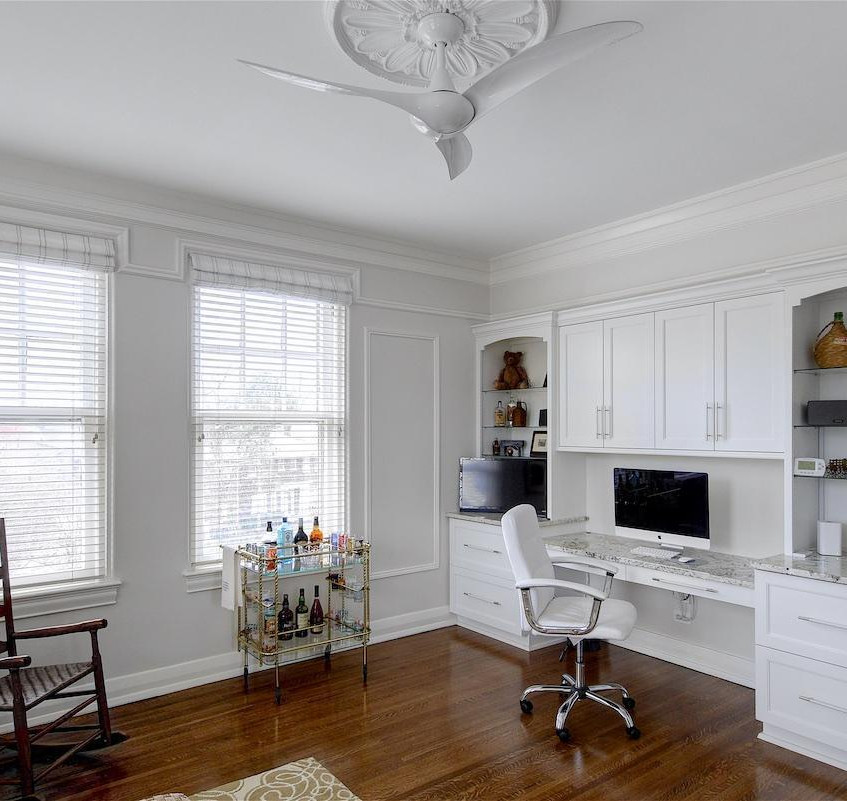 Office area with cabinetry