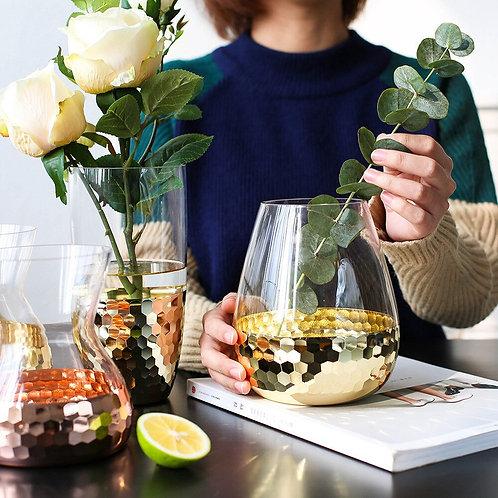 European Hand Crafted Glass Featuring Transparent Flower Arrangement