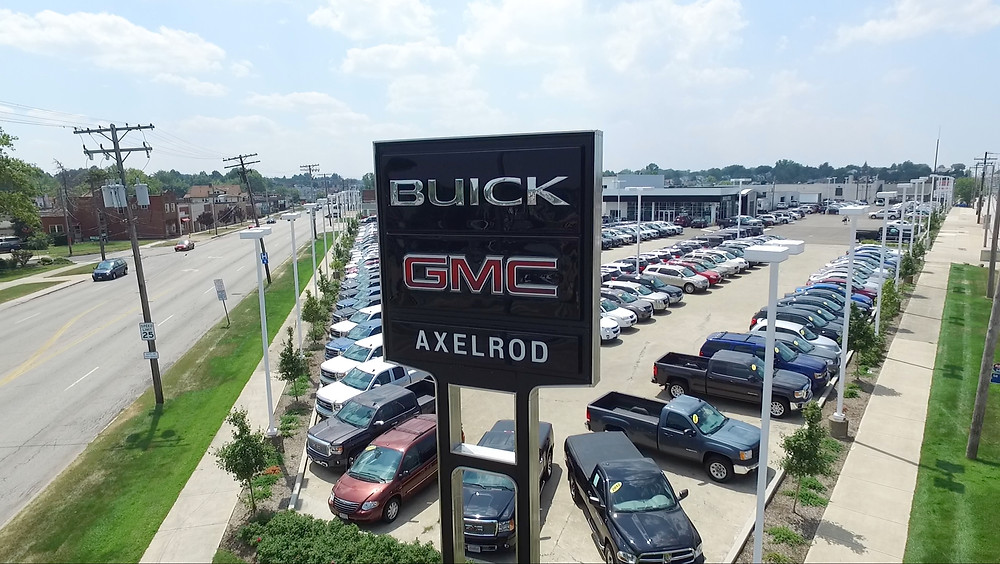 Shot of Axelrod Buick GMC car dealership from above sign. Photo by Aerial Agents.