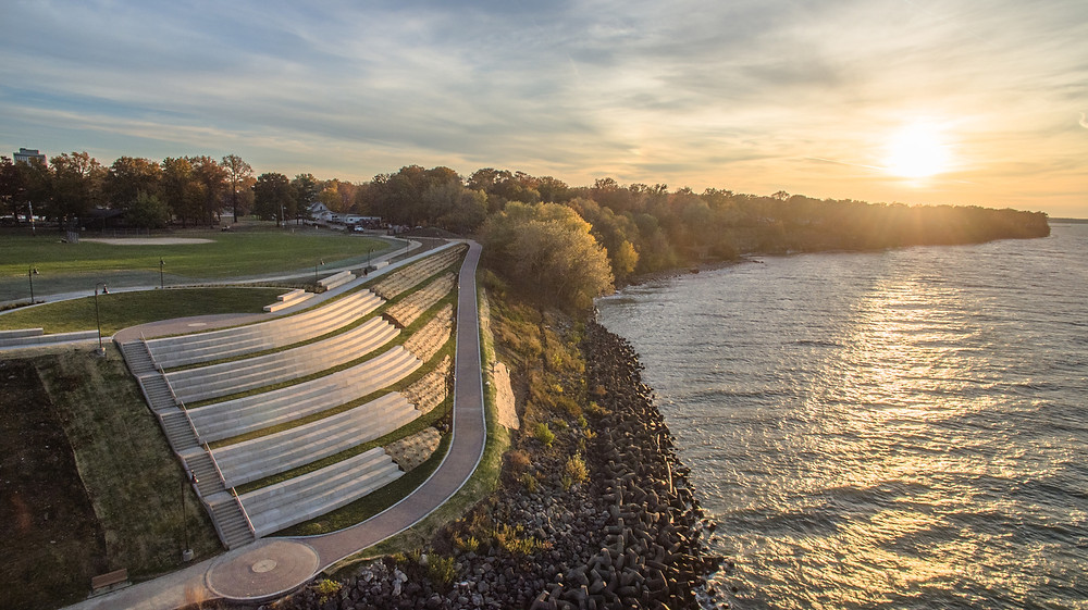 Suset over Lakewood Solstice Steps on the Lake Erie coast. Photo by Aerial Agents.