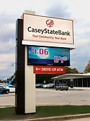 Custom in-house designed and manufactured single post mounted monument pylon sign, with integrated full color WatchFire dynamic advertising display.  5' x 10' CSB Logo sign, 3' x 8' 19mm color LED display and 1.5' x 6' illuminated ATM cabinet.  Multi-layer