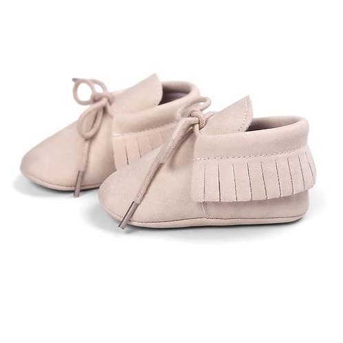 هامش + أربطة حذاء بدون كعب بيج