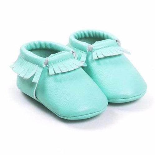 حذاء موكاسين بشراشيب أزرق مخضر