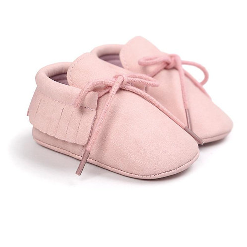 حذاء بدون كعب بأربطة وشراشيب وردي