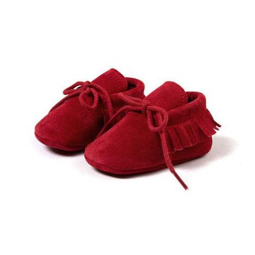 حذاء موكاسين شمواه صناعي أحمر