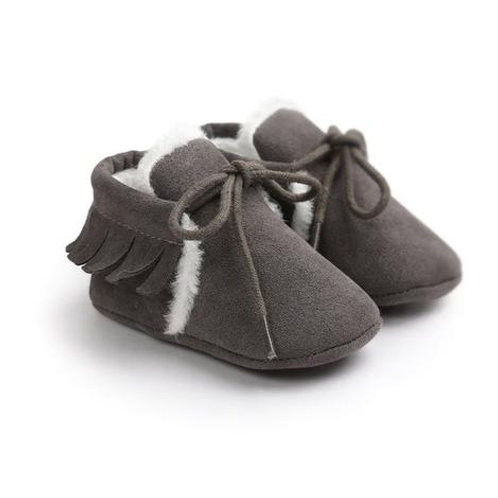Faux Suede Lined Moccasins Gray