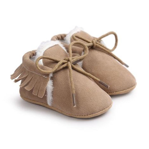 Faux Suede Lined Moccasins Beige