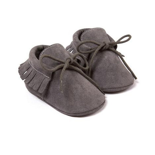 Faux Suede Moccasins Dark Gray