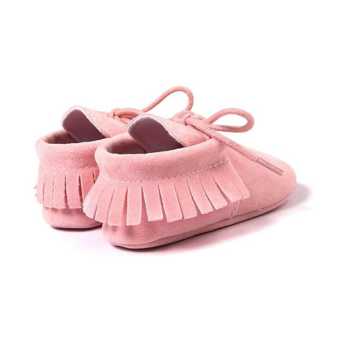 Faux Suede Moccasins Pink