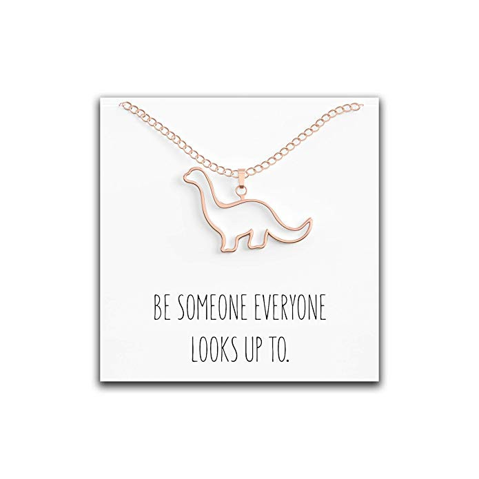 Dinosaur necklace pendant with message card