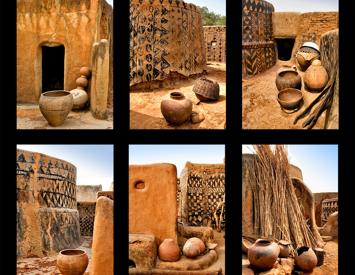 With few building materials to choose from, West African cultures have taken the earth underfoot into their hands to create some of the most beautiful, sculptural and ecoogically sound buildings in the world. More similar to clay pots, these mud buildings are protective and perfectly scaled to their environment and human dimensions. Cool inside despite the searing heat, these mud structures contain nothing superfluous and serve as a very functional 'container' for the lives of these inhabitants.