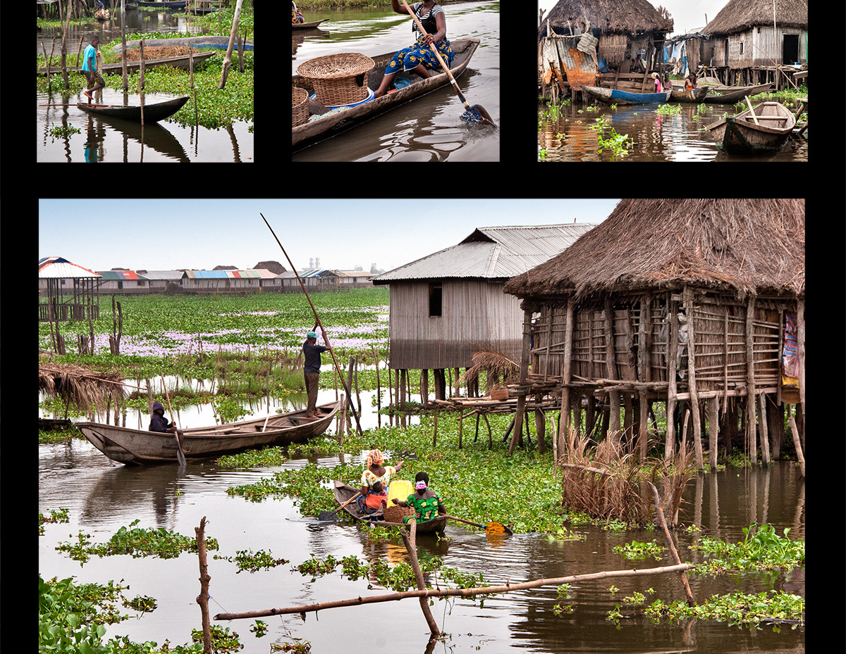 In southern Benin to fill the demands of the Americas for plantation labor, the powerful Fon people responded by brutally hunting and selling their fellow Africans. Their religious practices, however, forbade them from attacking anyone living on water, so a number of different peoples from around Cotinou took refuge in Lake Nokoue, building the town of Ganview on stilts in the middle of the lake. They had to work together to adjust to living on water and have grown over five hundred years to one of the largest lake dwelling communities in the world.