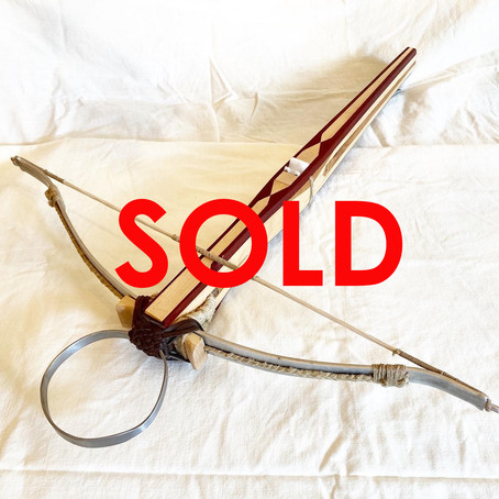 SOLD: Medieval Swiss crossbow in maple with padouk and cherry accents!