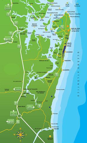 Mapa Penìnsula de Maraú-Bahia de Camamu