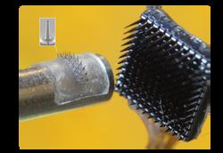Ultrafine, ultraflexible microneedles (left)