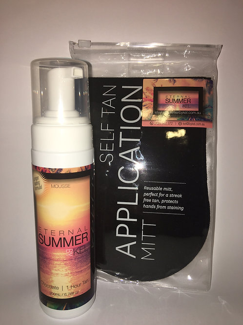 Eternal Summer By Kel  |  200ml Mousse Pump and Tanning Mitt Pack
