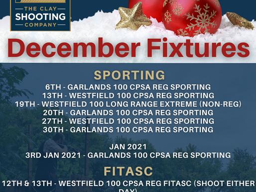 Important Information & December Fixtures