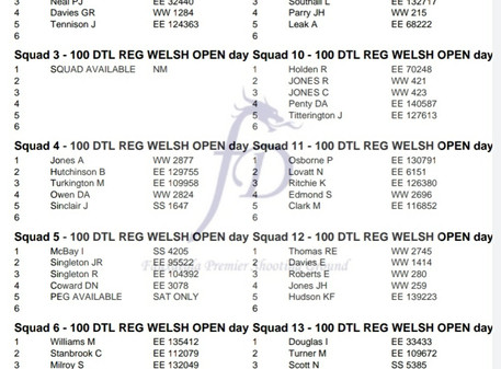 Welsh Open DTL Squad Lists and Rotations