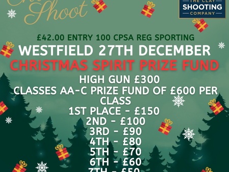 🎄Westfield 27th December & Garlands 30th December: Christmas Shoot Prize Fund Details🎄