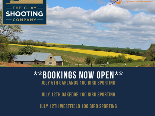 Bookings now open for.......