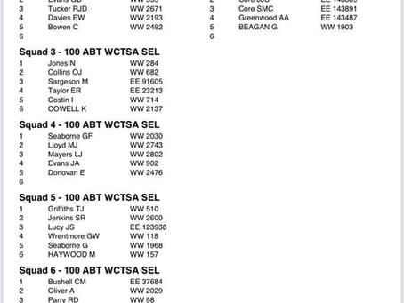 Squad lists and Rotations Times for tomorrow's 100 Reg ABT WCTSA Selection (Saturday)