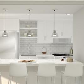 perspective 3D cuisine en blanc