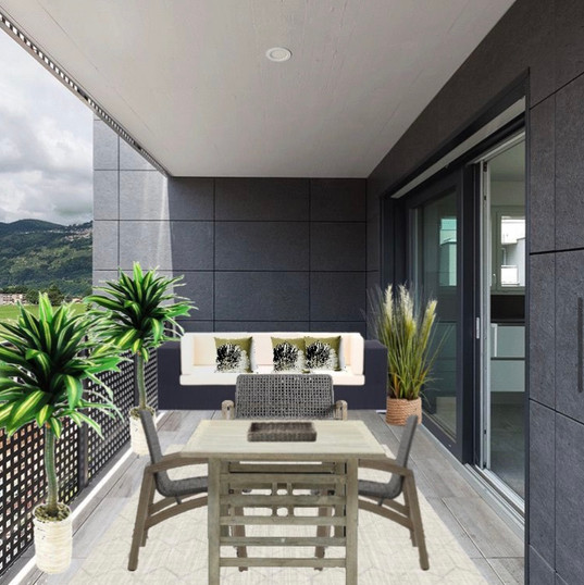 Modélisation lounge extérieur moderne