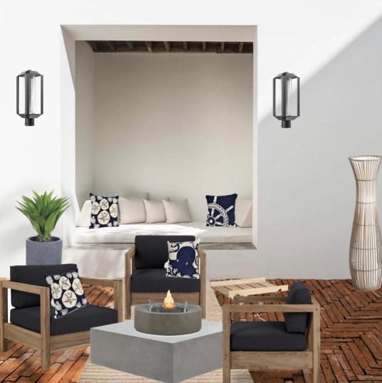 Modélisation lounge extérieur de style bord de mer/moderne