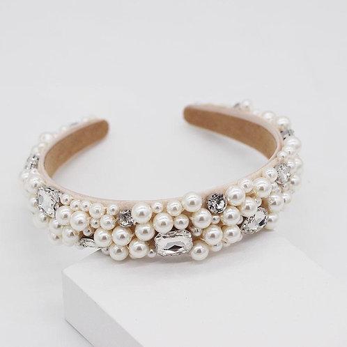 Jewelled headband. cream/pearl