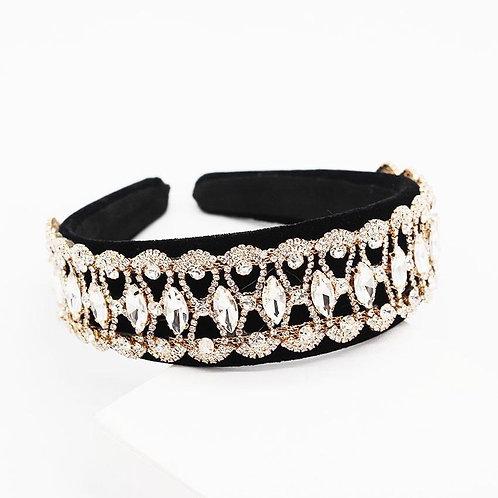 Jewelled headband. Black/ Rose Gold