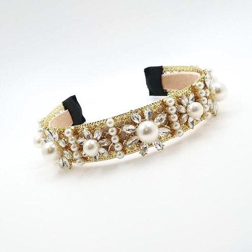 Jewelled headband. Gold/Pearl