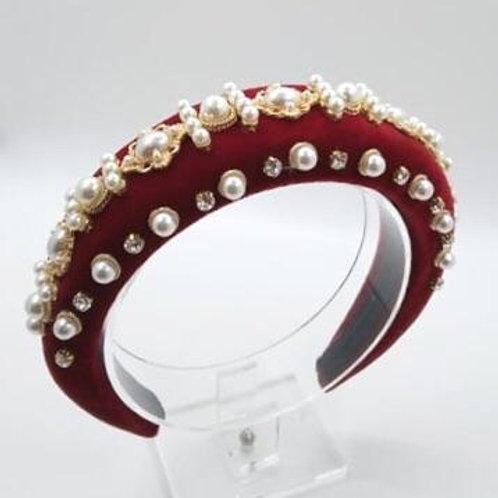 Regal style padded headband. Red.