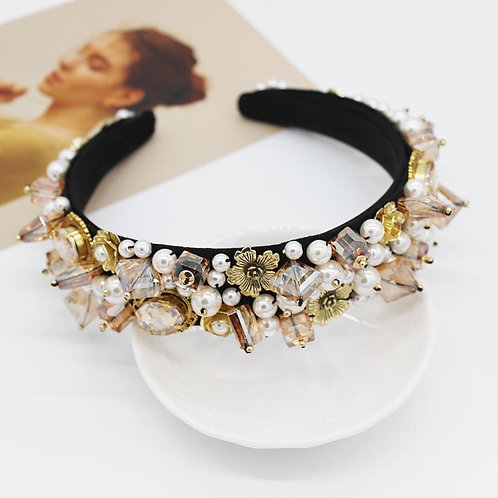 Jewelled headband. Amber/pearl