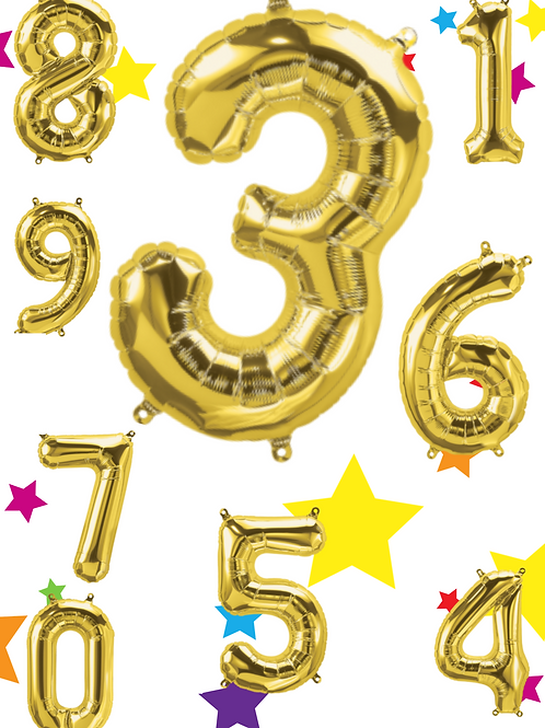 Gold Foil Helium Balloon Number 0-9