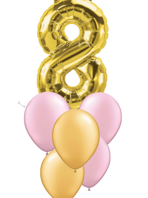 Gold Foil Helium Balloon Bouquet Number 0-9
