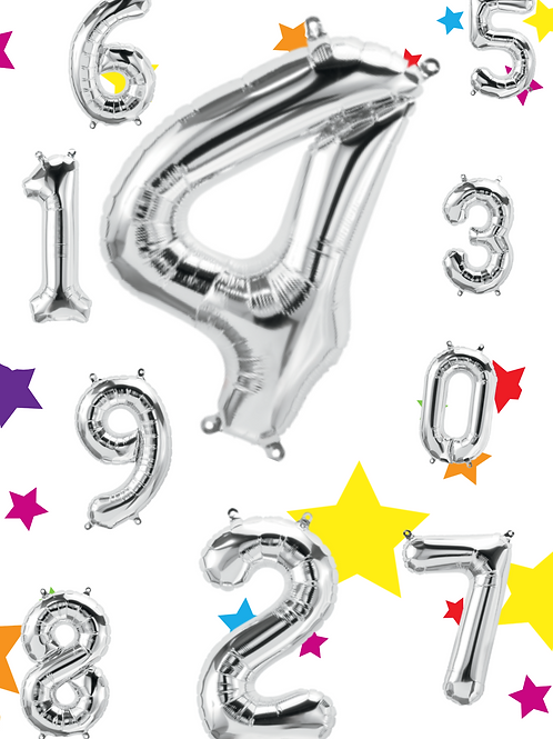 Silver Foil Helium Balloon Number 0-9