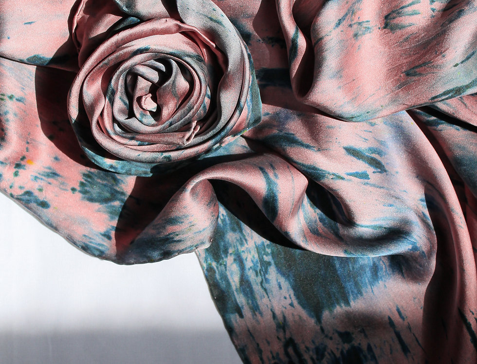 Silk Scarf - Rose/Ink
