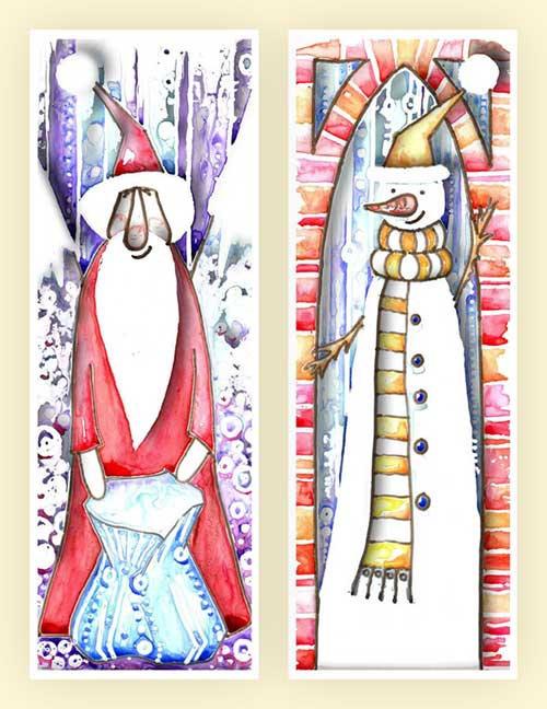 Snowman Santa Father Christmas Watercolour Art Christmas Cards