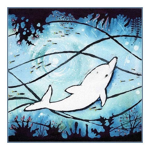 Dancing Dolphin Canvas Animal Greeting Card