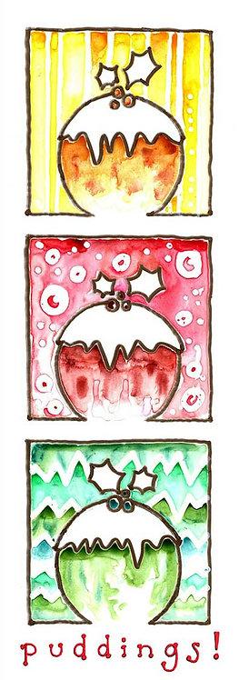 Pudding Brandy Holly Watercolour Art Christmas Card
