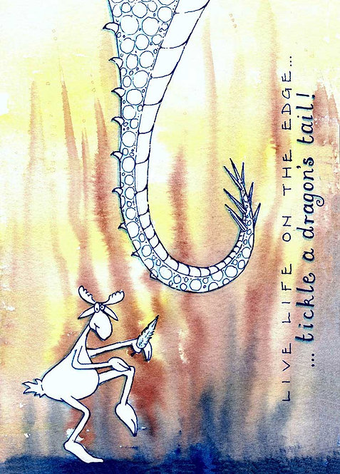 Tickle A Dragons Tail Tale Humour Funny Greeting Cards
