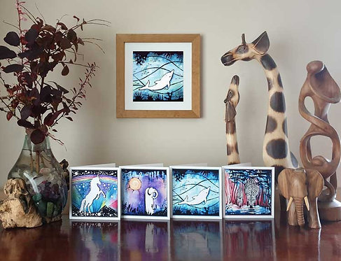 Animalia Swimming Diving Delighted Dolphin animal fine art print and greeting cards