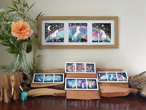 Three of a kind unicorns moonbow magic fine art print and greeting cards