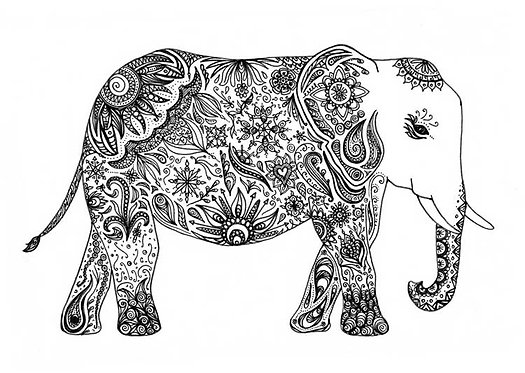 Doodle Patterned Patterns Elephant Greeting Card