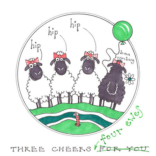 Three Cheers Four Ewes for you Humour Funny Greeting Cards